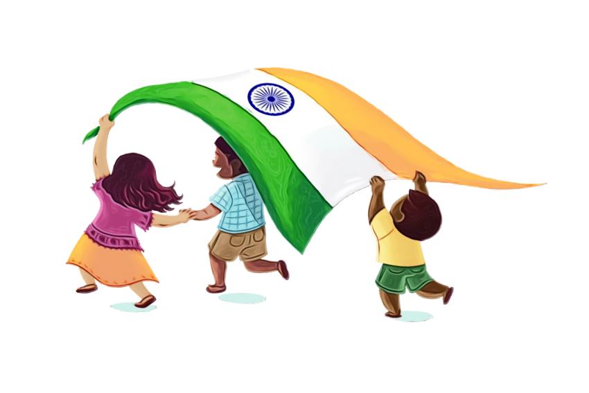 kids with tiranga-indepwnden