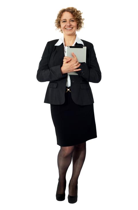 Women Girl In Suit Holdong B