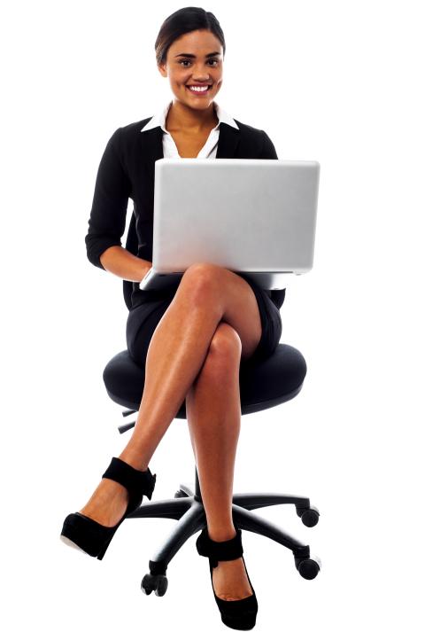 Women In Suit using Laptop L