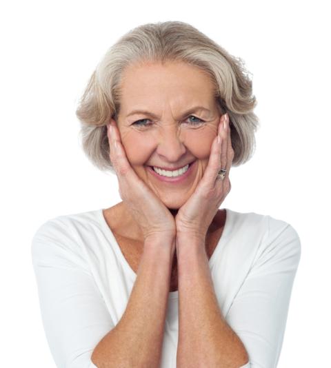 Old woman blushing smiling P