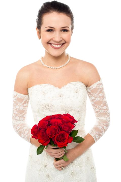 Bride Girl Woman Holding Flo
