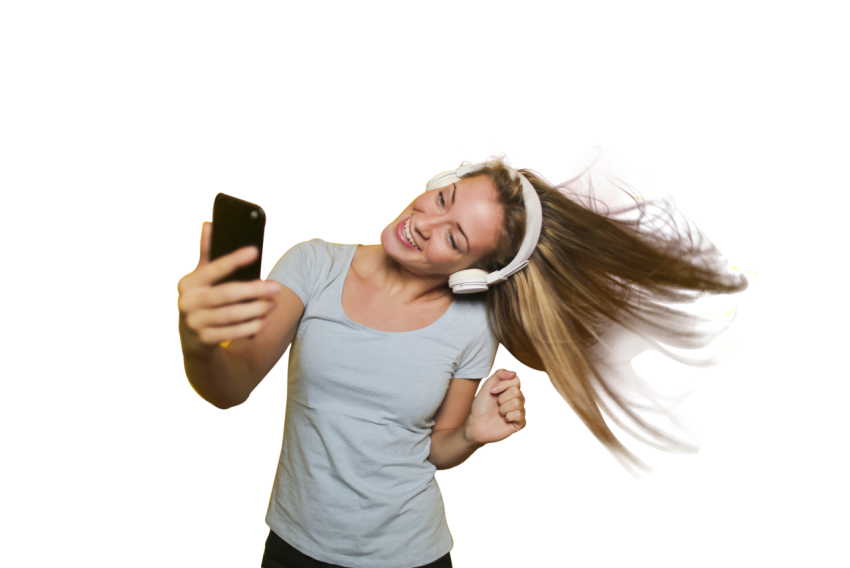 Dancing Girl Girl Taking Selfie with listening music HD PNG