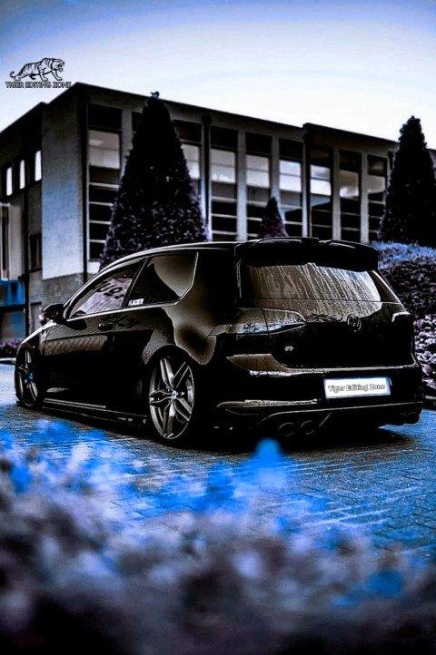 Black car with blue colour b
