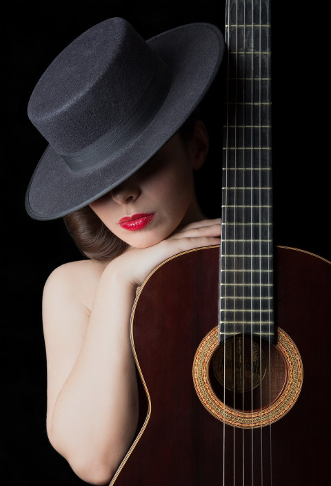 Girl With Guitar Amoled Wallpaper 4k Ultra Hd For Mobile Image Free Dowwnload