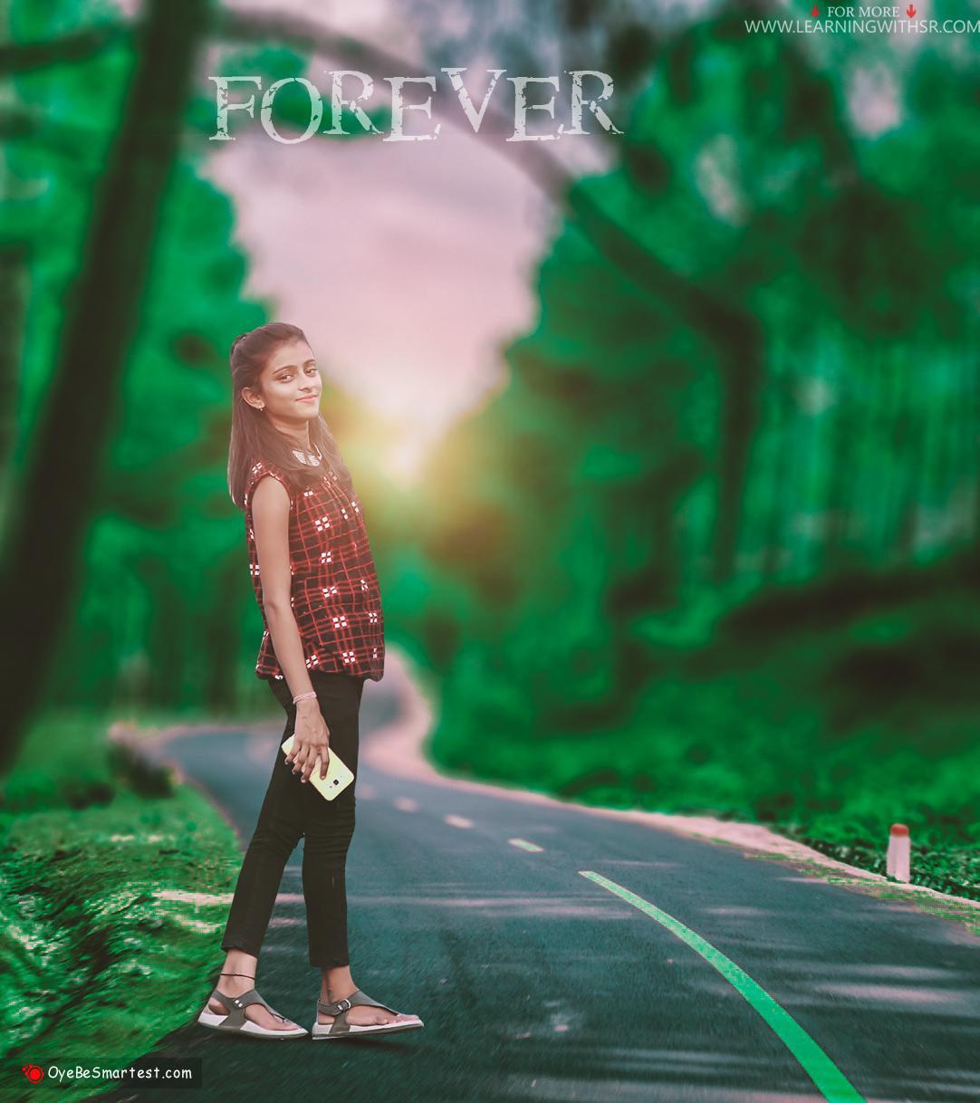 Girl on road picsart backgro