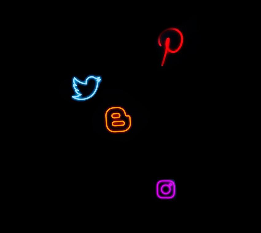 Neon Social Media Effect PNG