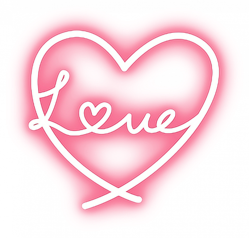 Neon Effect Heart PNG (Dil)