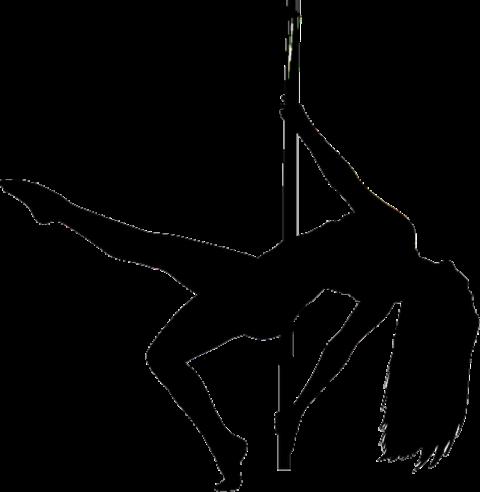 Pole Dance Lady PNG Black &
