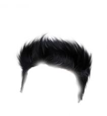 Black SImple Boy Hair Png fo