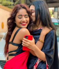 Nisha Guragain in red Saree