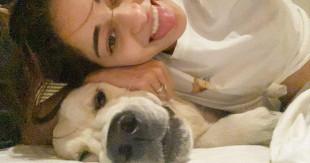 Cute Ananya Panday with dogg