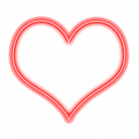Neon Glowing Heart PNG Picsa